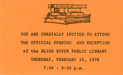 Invitation To Library Opening and Reception, Blind River 1978