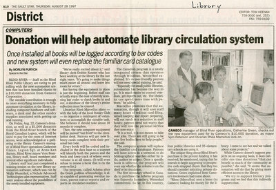 Donation Will Help Automate Library Circulation System, Blind River, 1997