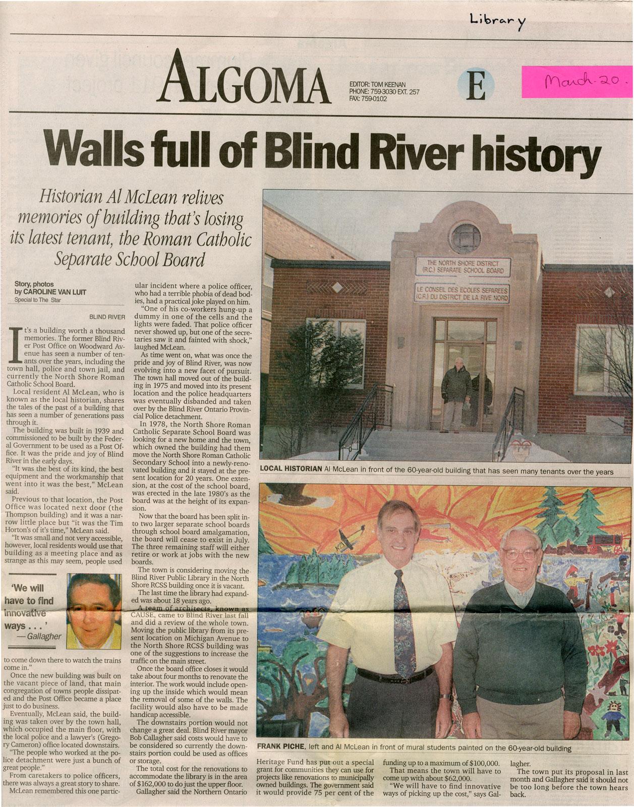 Walls Full Of Blind River History, 1999