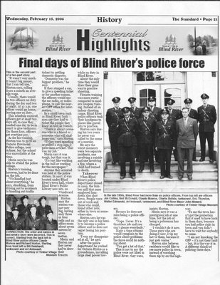 Final Days Of Blind River's Police Force - Part 2 - The Standard, 2006