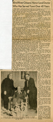 Blind River Citizens Honor Local Doctor Hamill, 1965