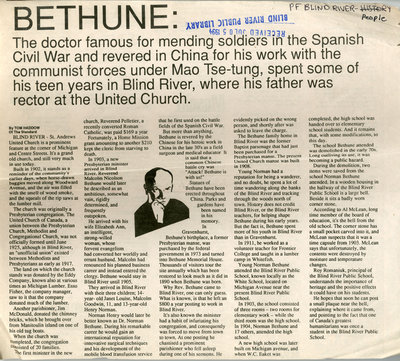 Bethune Had Connection To Blind River, The Standard, 1994