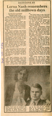 Lorna Nash Remembers Old Milltown Days, Blind River, The Standard, 1986