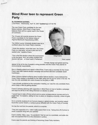 Blind River Teen To Represent Green Party, 2007