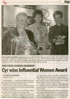 Cyr Wins Influential Women Award, North Bay, 2001