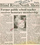 Former Teacher Receives Honorary Membership, Blind River, The Standard, 1995