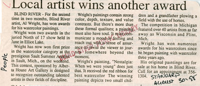 Local Artist Wins Another Award, Blind River, The Standard, 1995