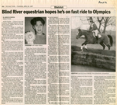 Blind River Equestrian Hopes For Olympics, 1997