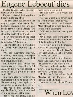 Eugene LeBouef Dies, Blind River, The Standard, 1997