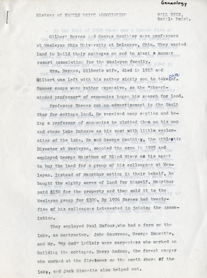 Bill Rice's History of Battle Point Association, Blind River, Circa 1974