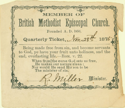 British Methodist Episcopal Church Tithing Ticket, 1875