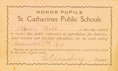 St. Catharines Public Schools Honor Pupils certificate to Bessie Bell, December 1910.