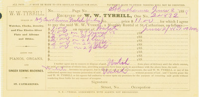 W.W. Tyrrill receipt, June 1888