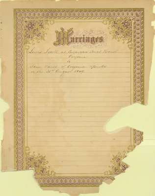 Bell Family Bible, Marriages, Tyrell - Gains, 1849
