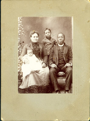 Photograph of Rev. and Mrs. Wright and Family signed to Mrs. Mary Bell [n.d.]