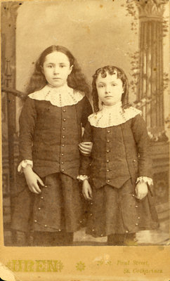 Photograph of Two Girls by R. F. Uren, Photographer, St. Catharines [n.d.]