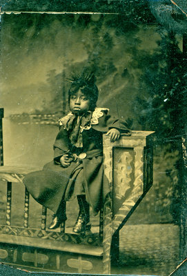 Tintype of Sad Young Black Girl Perched on Bench [n.d.]