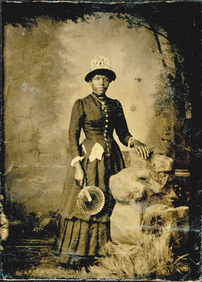 Tintype of African American Woman with Fan [n.d.]