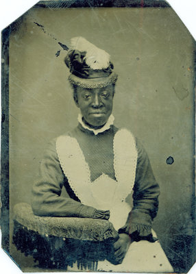 Tintype of African American Woman with Feathered Hat [n.d.]
