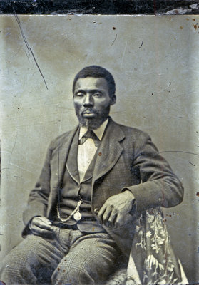 Tintype of Bearded African American Man with Pendant Watch