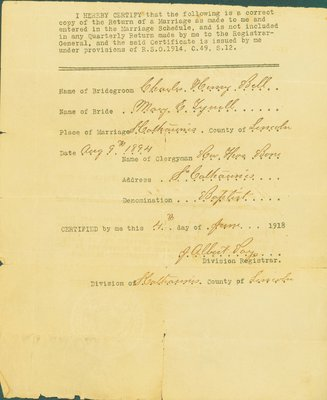 Marriage Certificate, Charles Henry Bell - Mary E. Tyrrell, 1894