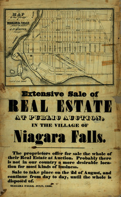 Broadside advertising a Real Estate Auction in the Village of Niagara Falls [New York], July, 1836