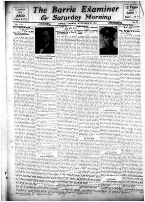 Barrie Examiner, 28 Sep 1916