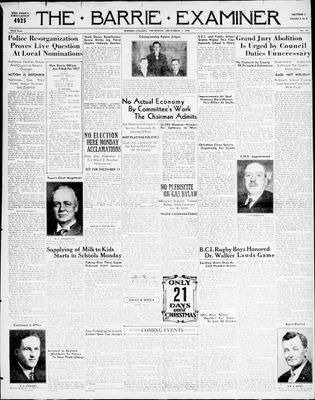 Barrie Examiner, 3 Dec 1936