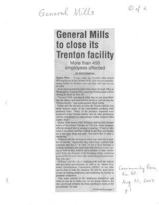 General Mills to close its Trenton facility