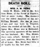 Howe, Annie M. (née Bennett) (Died)