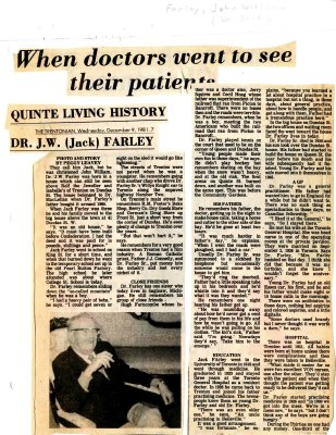 When doctors went to see their patients: Quinte Living History