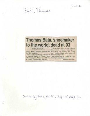 Thomas Bata, shoemaker to the world, dead at 93
