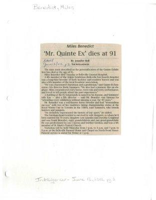"""""""Mr. Quinte Ex"""" dies at 91"""