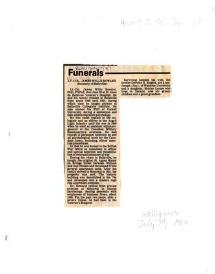 Funerals - Lt. Col. James Willis Howard