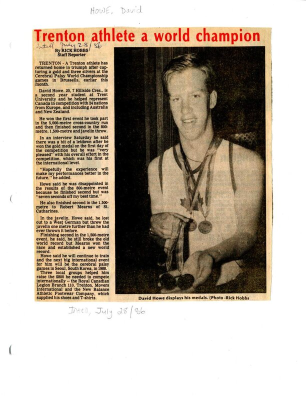 Trenton athlete a world champion - David Howe
