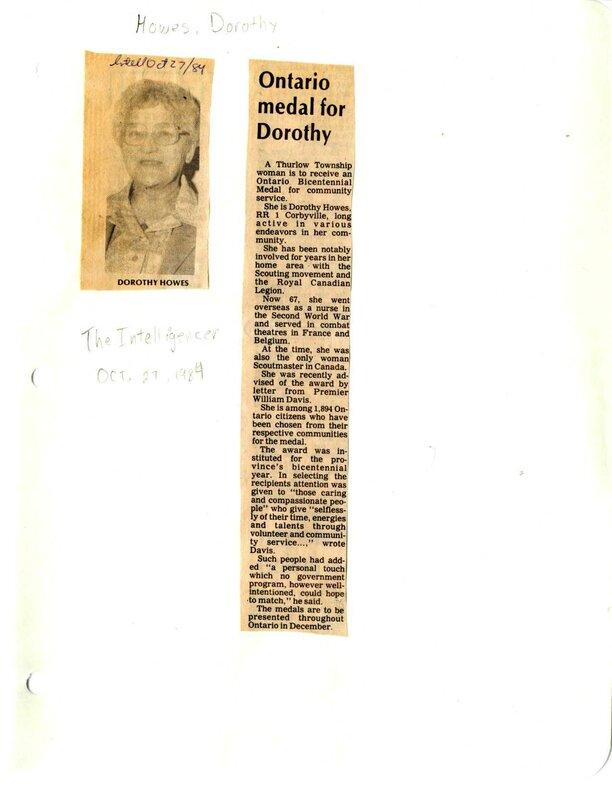 Ontario medal for Dorothy