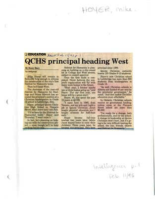 Education: QCHS principal heading west