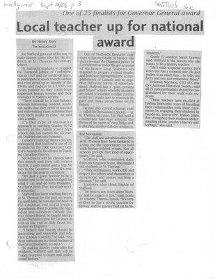 Local teacher up for national award