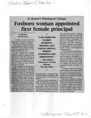 Foxboro woman appointed first female principal