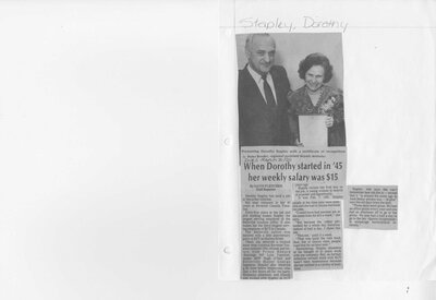 When Dorothy started in '45 her weekly salary was $15