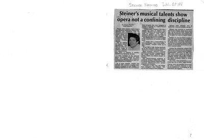 Steiner's musical talents show opera not a confining discipline