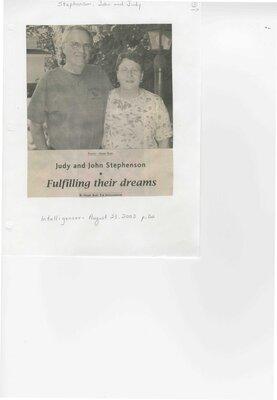 Judy and John Stephenson-Fulfilling their dreams