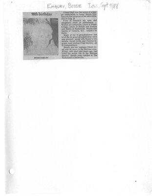 Bessie Embury 90th Birthday announcement