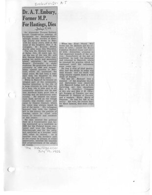 Dr A.T. Embury Former Hastings M.P. dies
