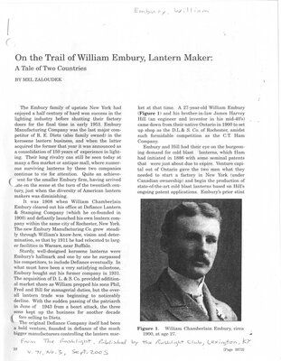 On The Trail of William Embury, Lantern Maker:A Tale of Two Countries