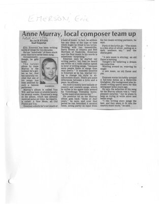 Anne Murray, local composer team up