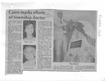 Cairn marks efforts of township doctor