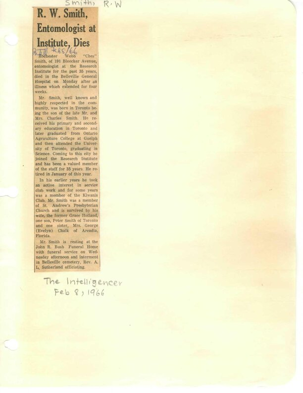 R.W. Smith, Entomologist, dies