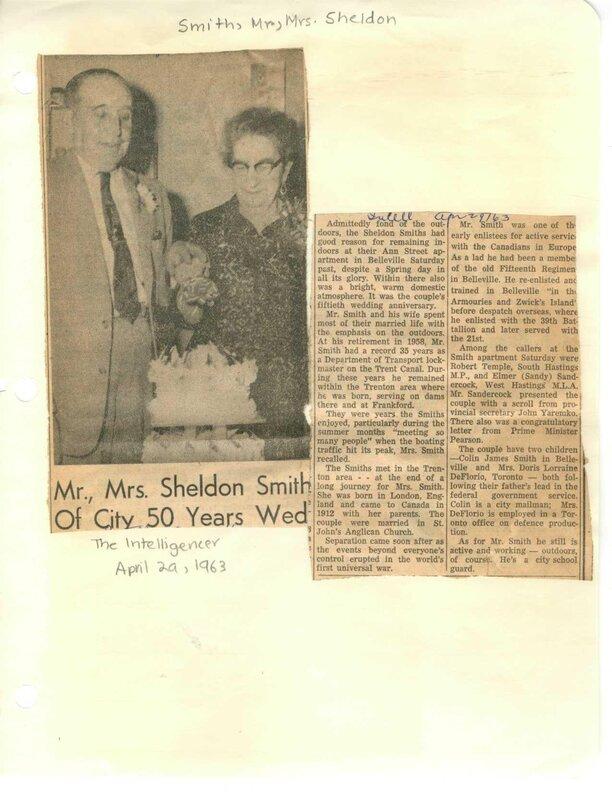 Mr., Mrs. Sheldon Smith of city 50 years wed