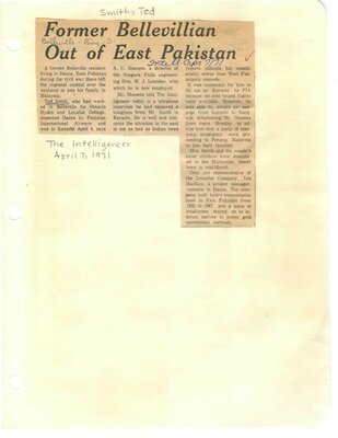 Former Bellevillian out of East Pakistan